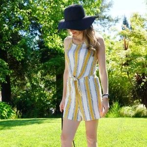 Halter Top Romper - White and yellow pattern